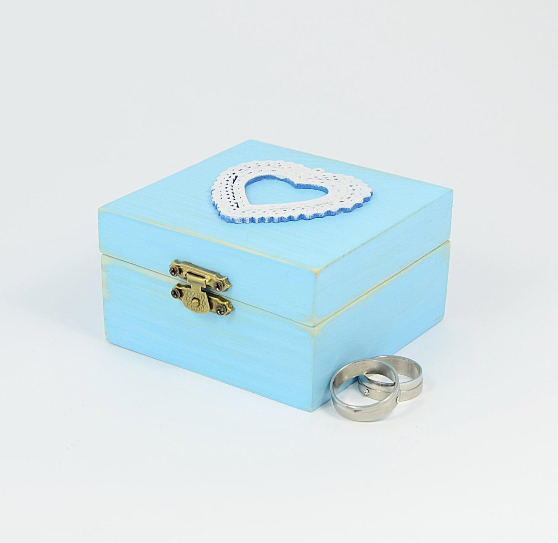 Light blue wedding ring box heart ring bearer box by for Heart ring box