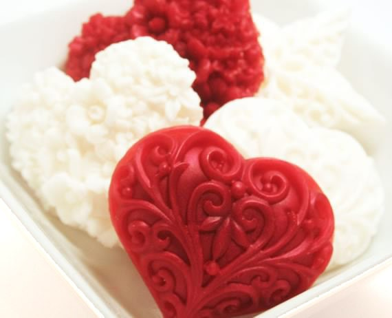 Hostess Gift Soap - Valentine's Soap Gift Set - Red and White Heart Soap