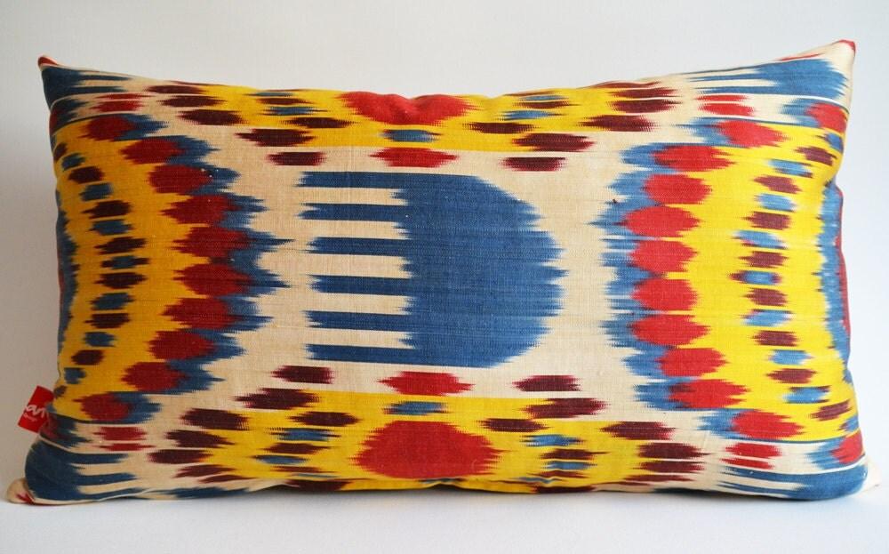Sukan / Hand Woven Original Lumbar Silk ikat Pillow Cover - Yellow, Beige, Red, Brown, Blue