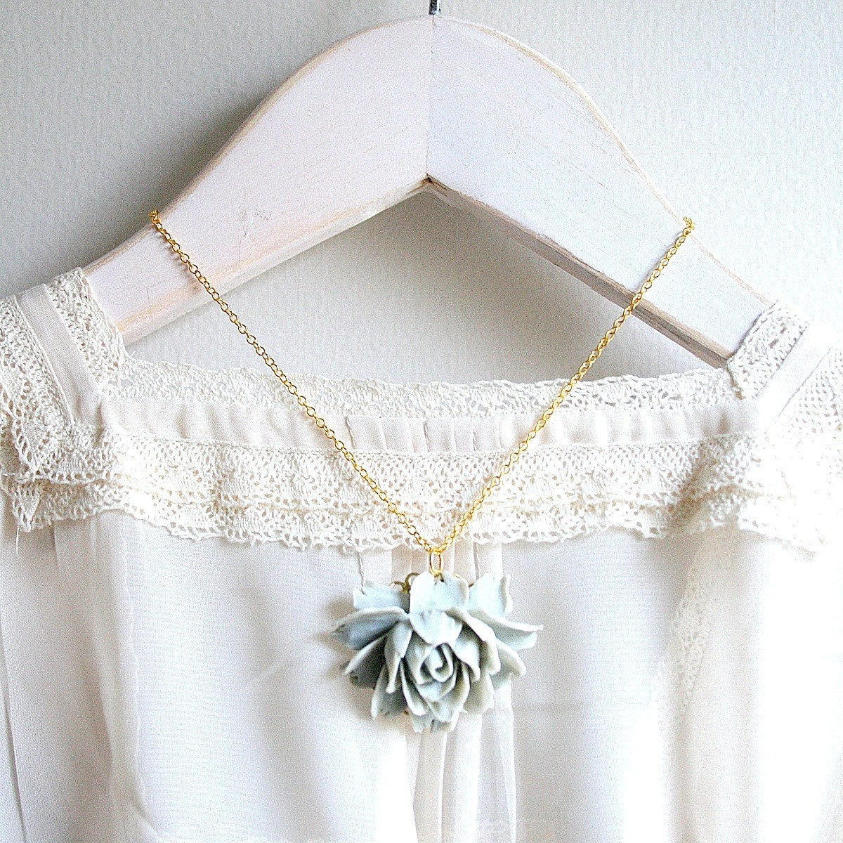 Grey Rose Necklace