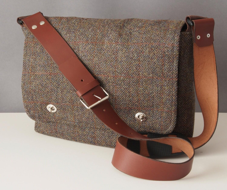 Tweed Messenger Bag with leather strap  fabric satchel for Tablet Camera eReader Laptop