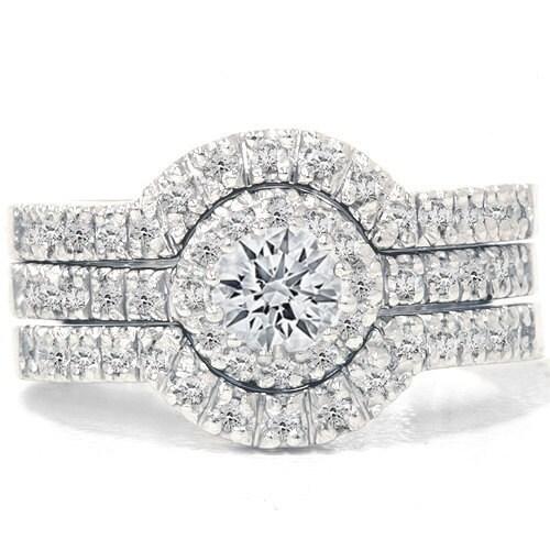125 CT Diamond Engagement Wedding Ring Set 14K White By Pompeii3