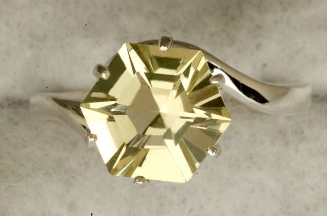 Lemon Quartz 8MM 2.71ct Star Cut Alternative Engagement  Ring