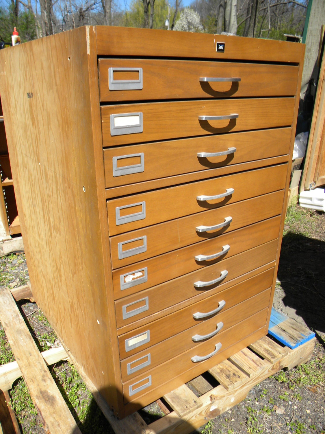 Nice Vintage 70s 10 Drawer Map Blueprint Collector By Score571