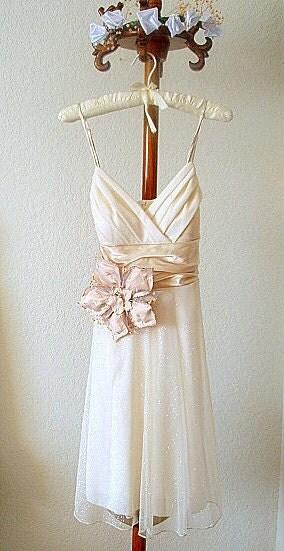 Sparkling Voile Dress Flower Fascinator Sash Wedding Cocktail Party Prom Short Gown
