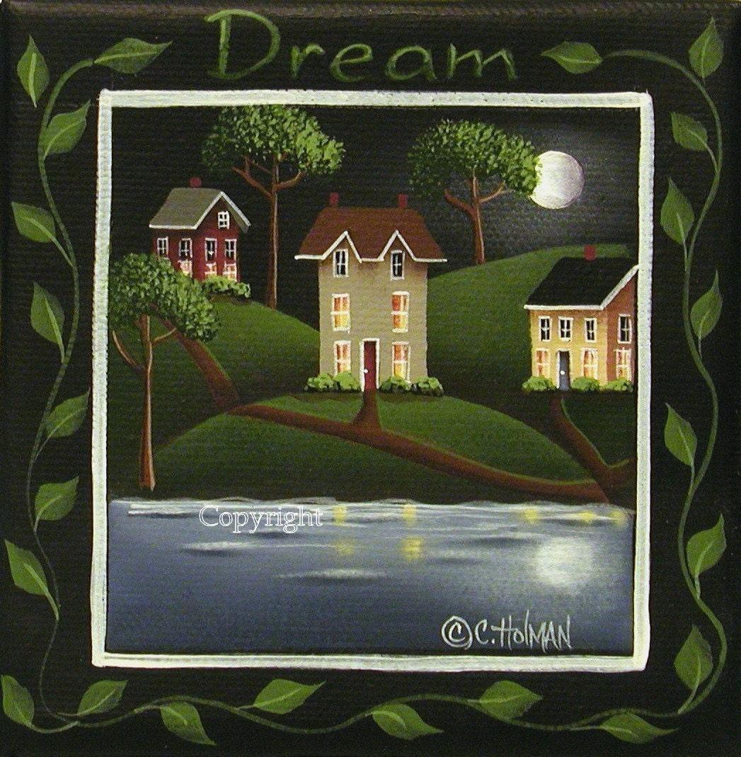 Moonlight in Pilot Grove Folk Art Print