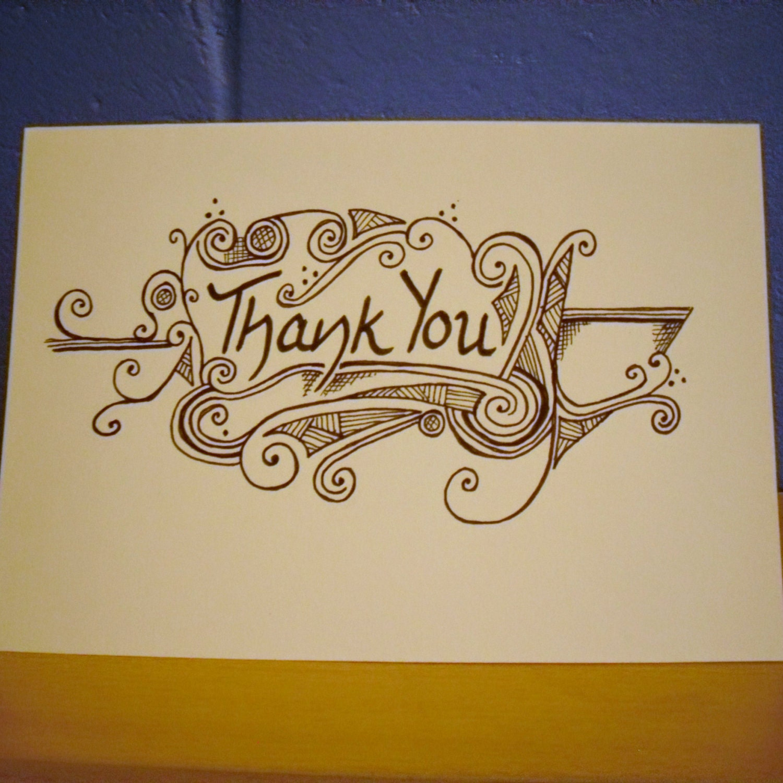 Thank You Card Hand Drawn Card