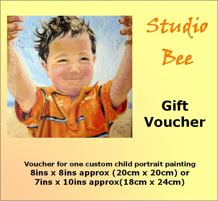 Gift Voucher Certificate for a custom child portrait painting in oils from your photo