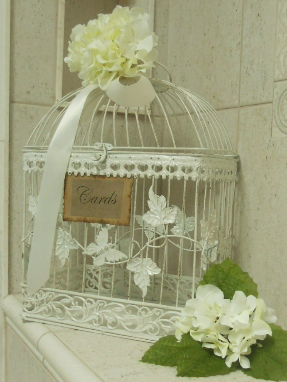 Romantic Antique White Wedding/Birdcage Card holder