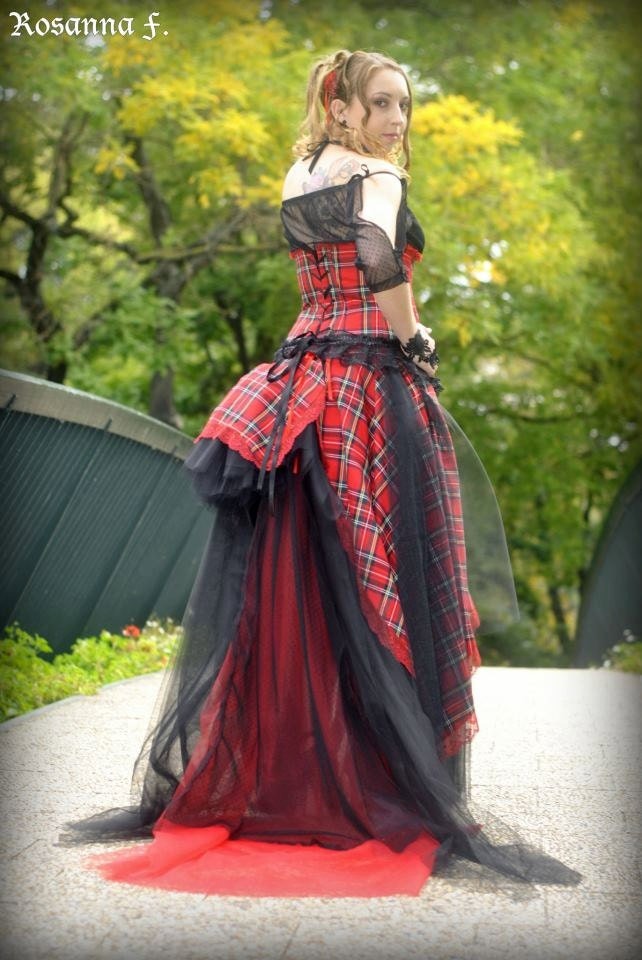 Gothic wedding dress red and black lace scottish