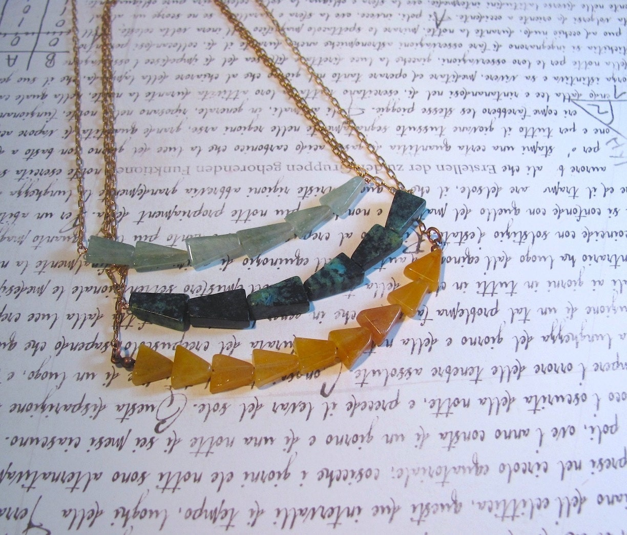 Pennant - Triangle Necklace with Copper Chain & Gemstone: Green Aventurine / Blue Turquoise / Orange Jade