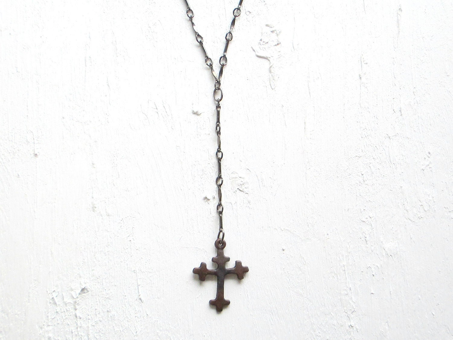 Rosary Necklace Cross Pendant Minimalist Rosary Style Edgy Jewelry Statement Necklace - REBELbyFATE