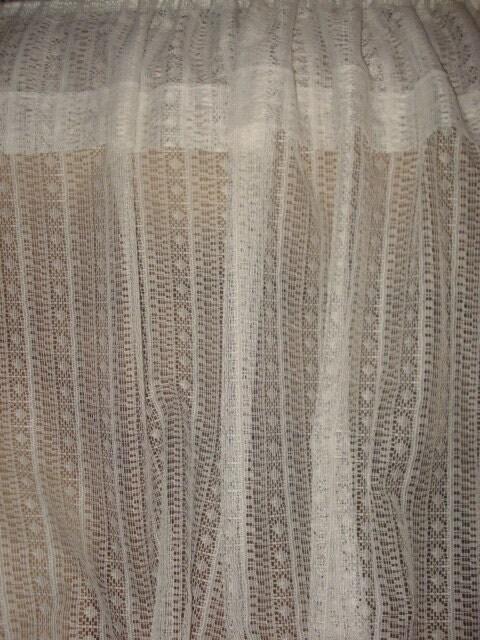 vintage antique white lace net floral curtains 2 by fabulous5