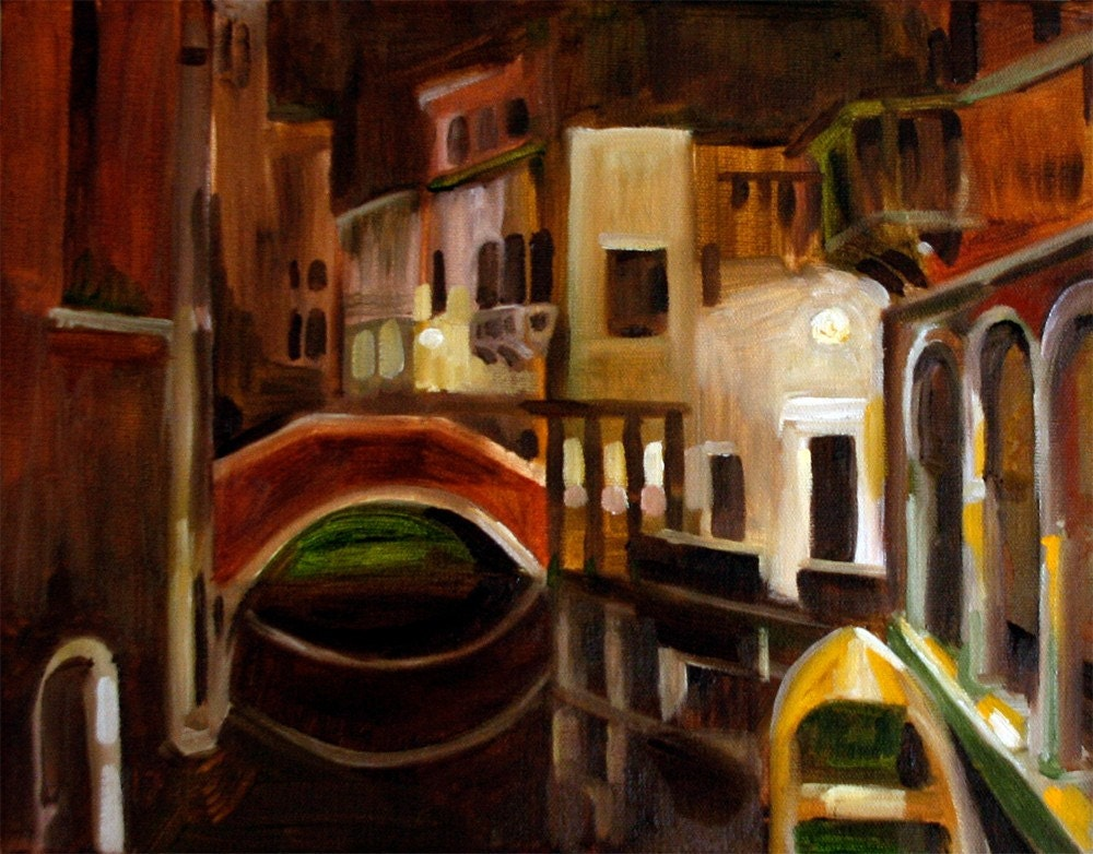 Night  Venice, 11x14 Original Oil Painting