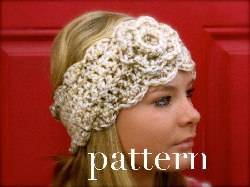 crochet chunky headwarmer with flower PATTERN ONLY by taraduff