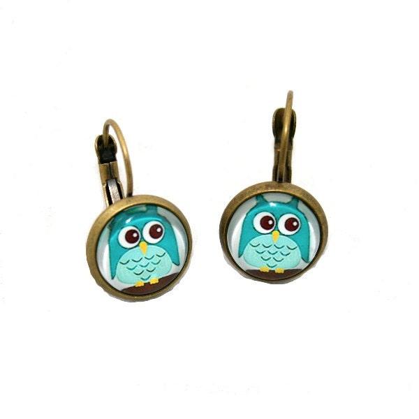 blue owl earrings bird illustration dangle by laurasjewellery