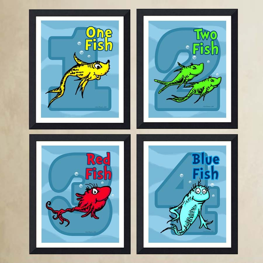 Poster Art Print One Fish Two Fish Red Fish Blue By ArtOfThePage