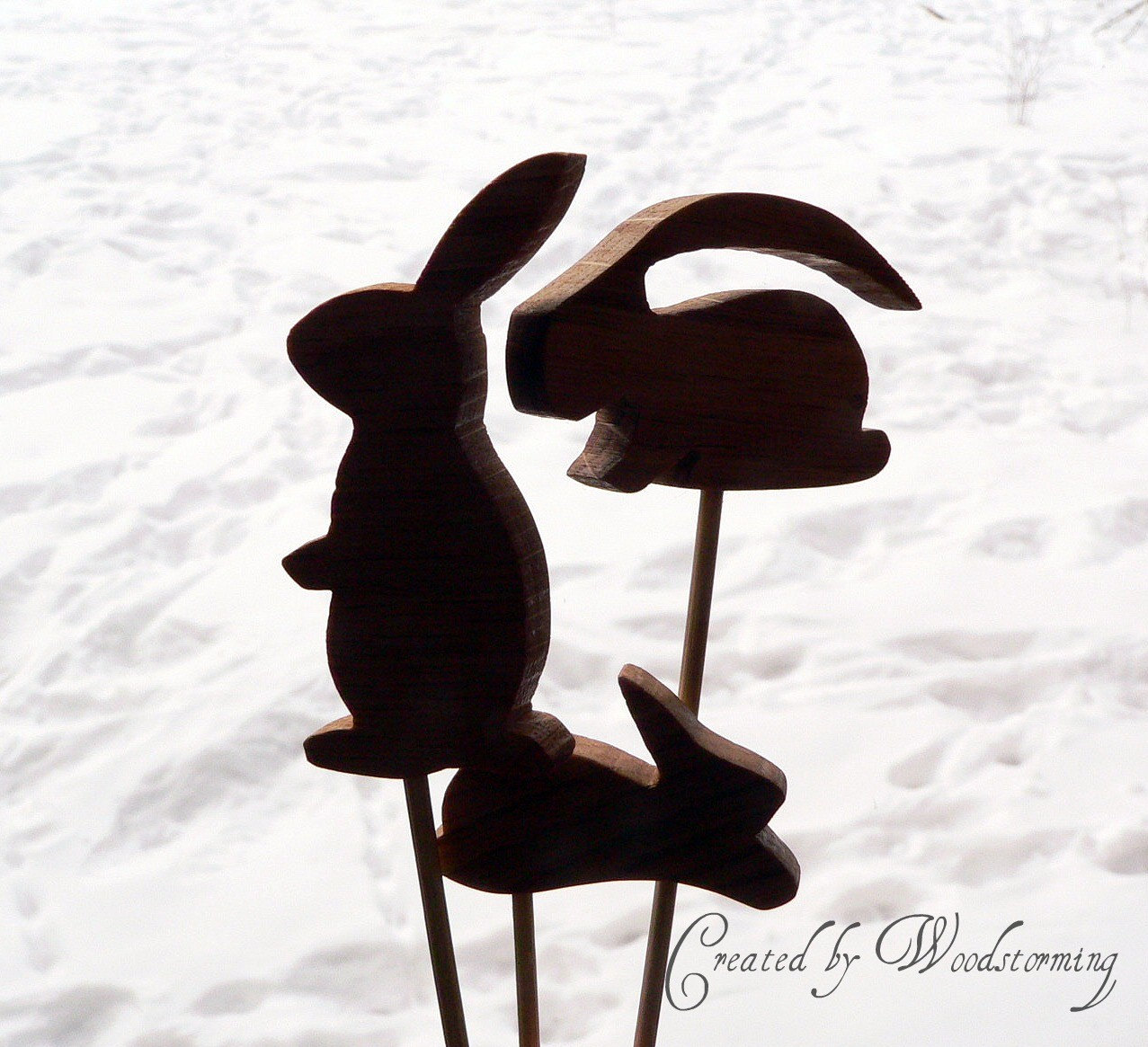 Wooden handmade Easter bunny rabbit flowerpot decoration by Woodstorming from etsy.com