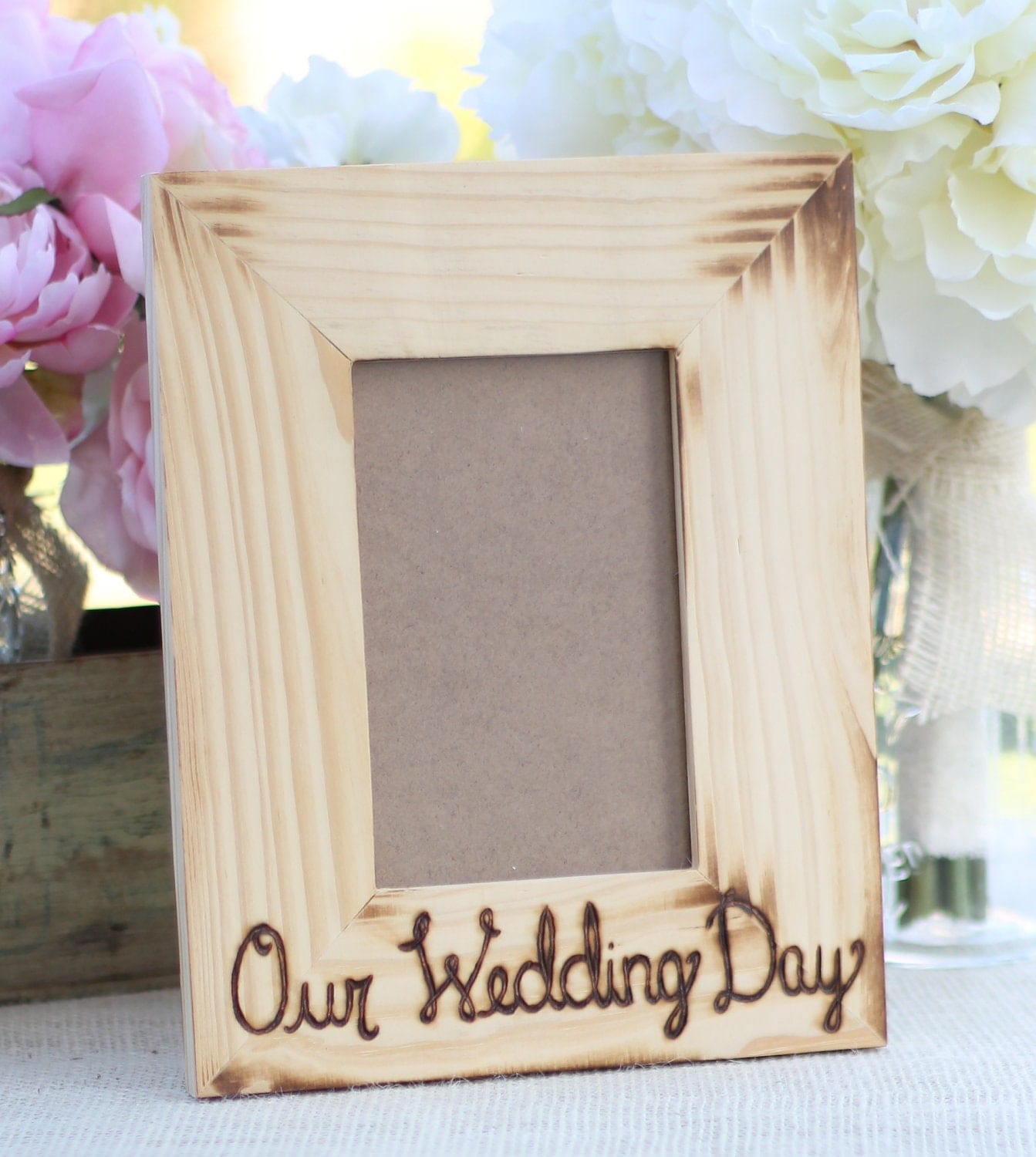 Items similar to Personalized Wedding Frame Engraved Wood Rustic Decor ...