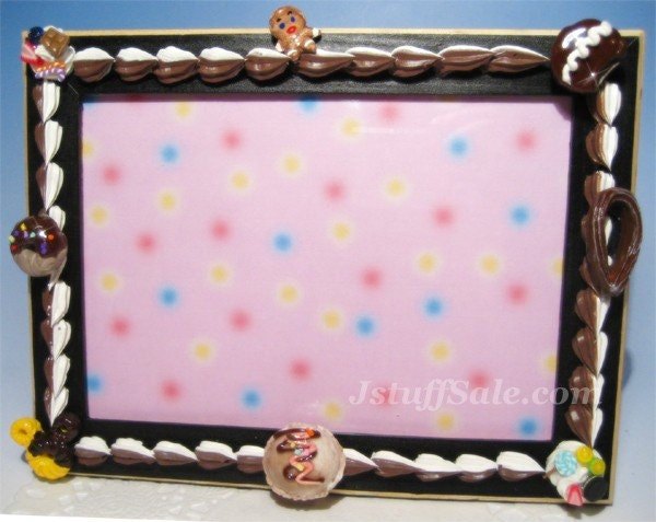 Photo, picture frame with chocolate vanialla whip cream and doughnuts, ice cream, cupcake, cookie, etc.