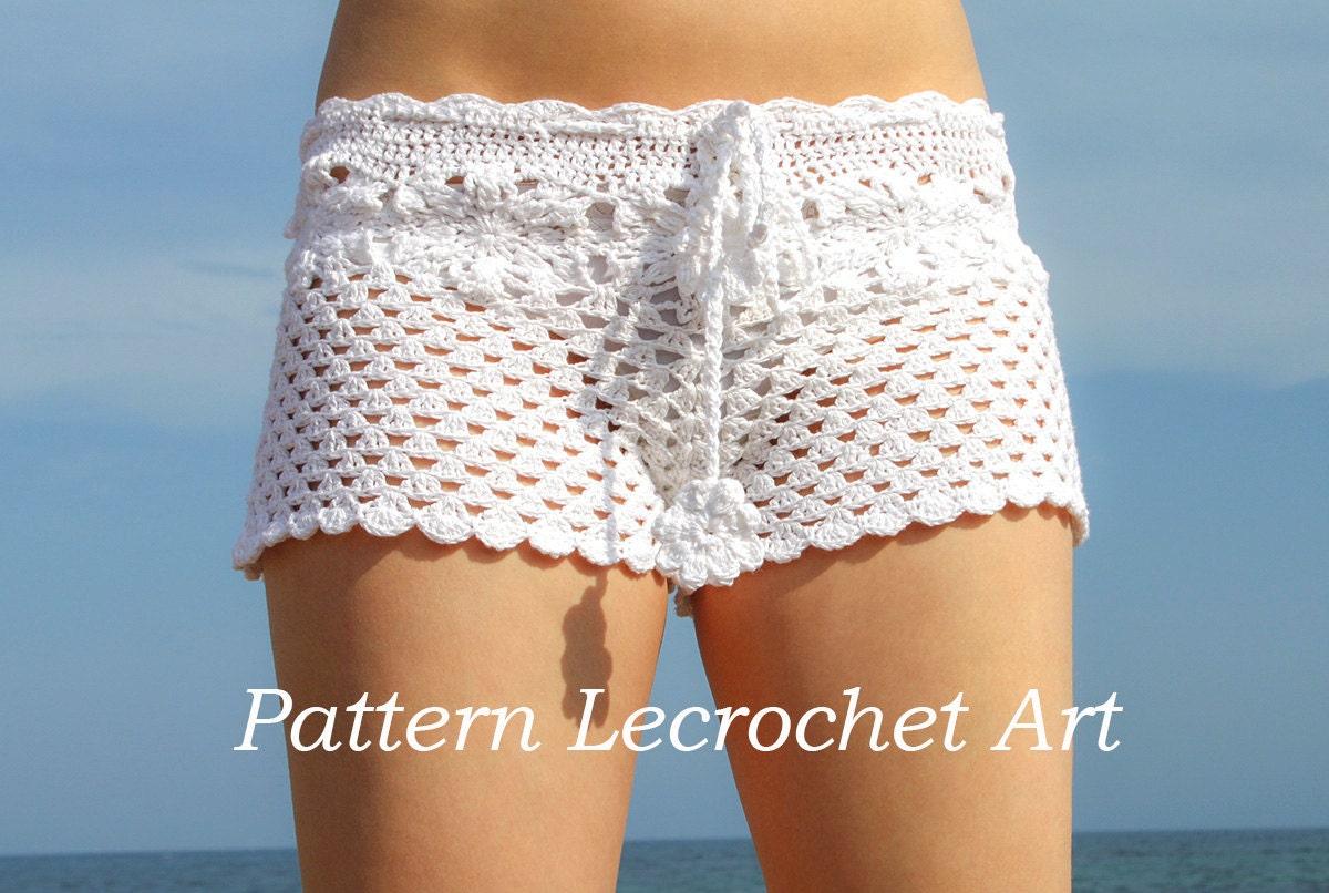 Crochet Shorts : Crochet pattern white beach shorts and shorts by LecrochetArt