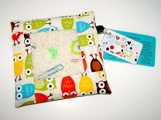 NEW Owls in Bermuda - I Spy Bag - One of a kind design - Several coordinating fabrics - Hours of Fun - Word and Photo Card Included