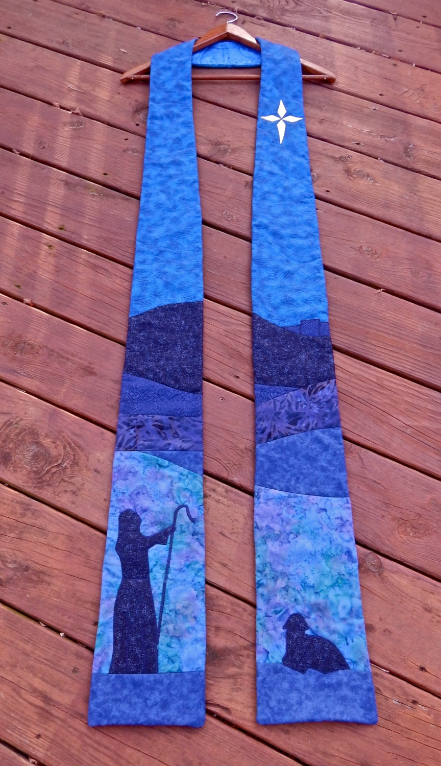 Quilted Clergy Stole Advent Shepherd And Star By