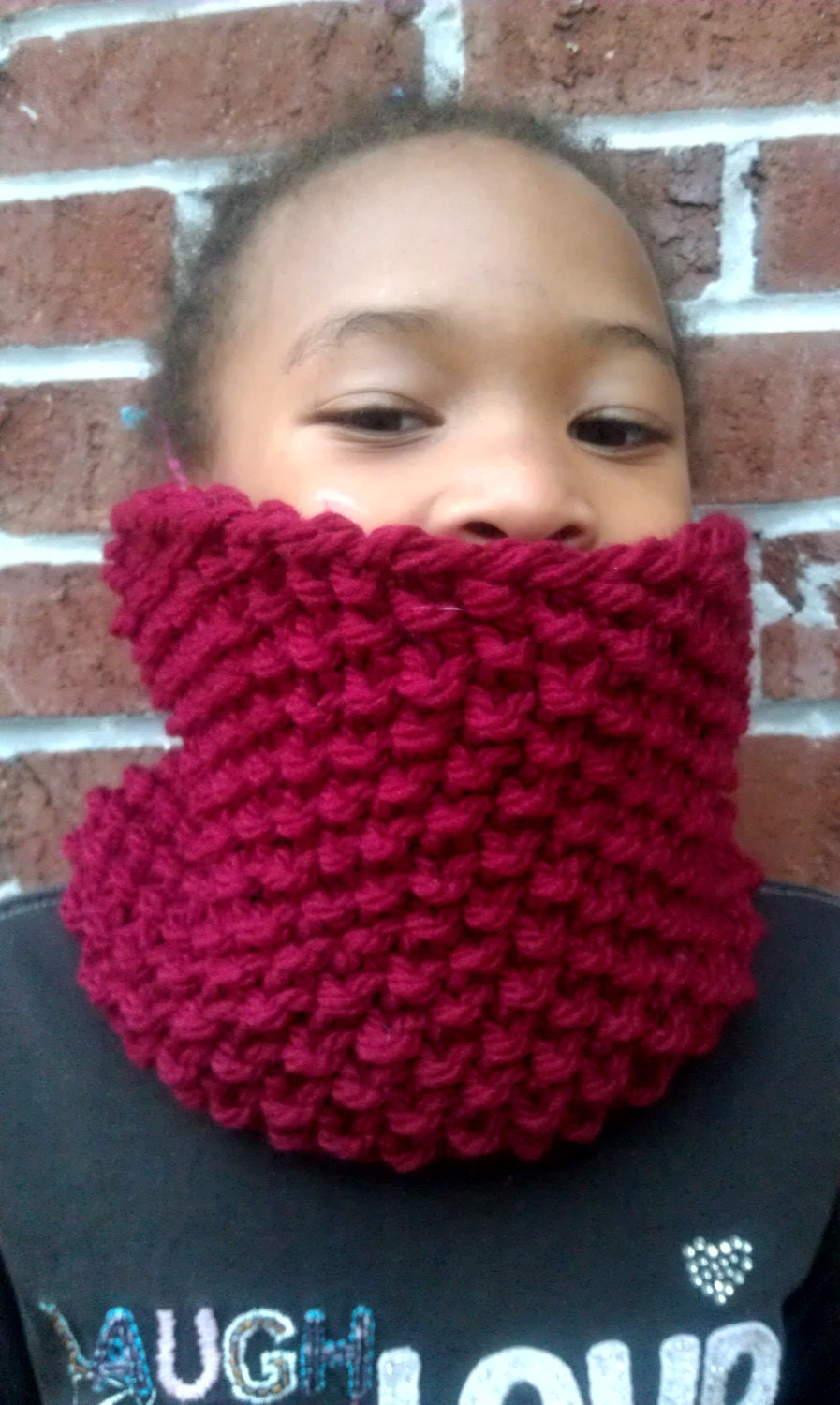 Children's Chunky Red Knit Cowl, Scarf, Infinity Scarf, Circle Scarf