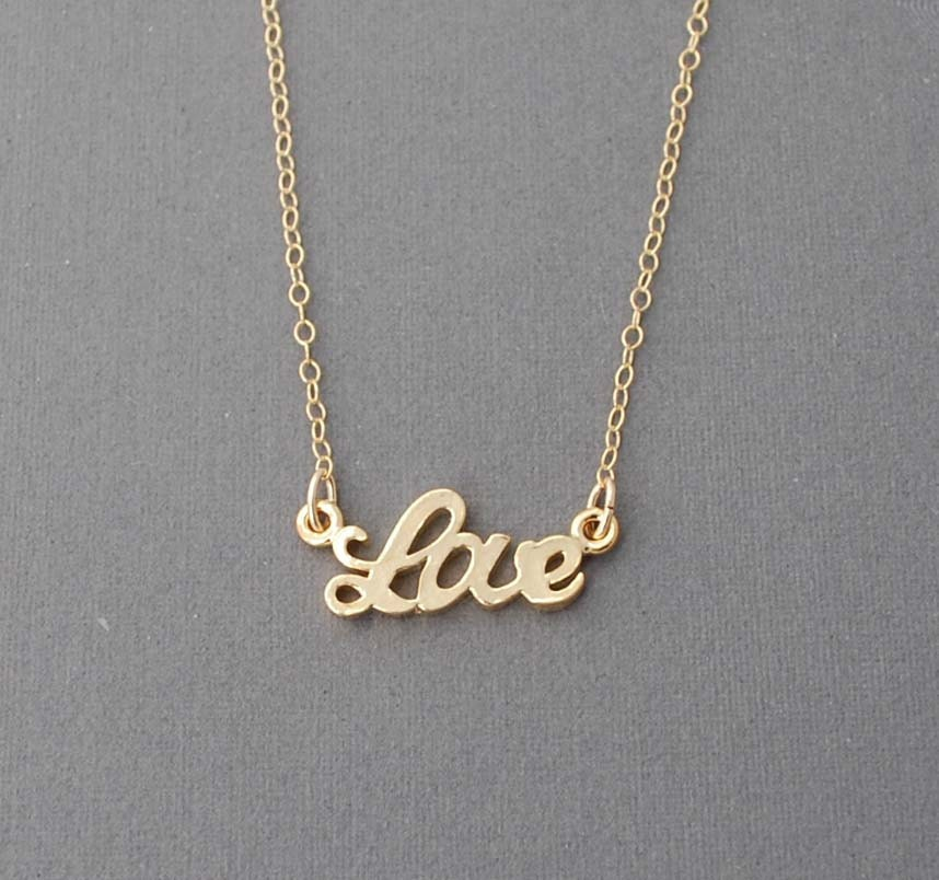 "Gold Love ""word"" Necklace"