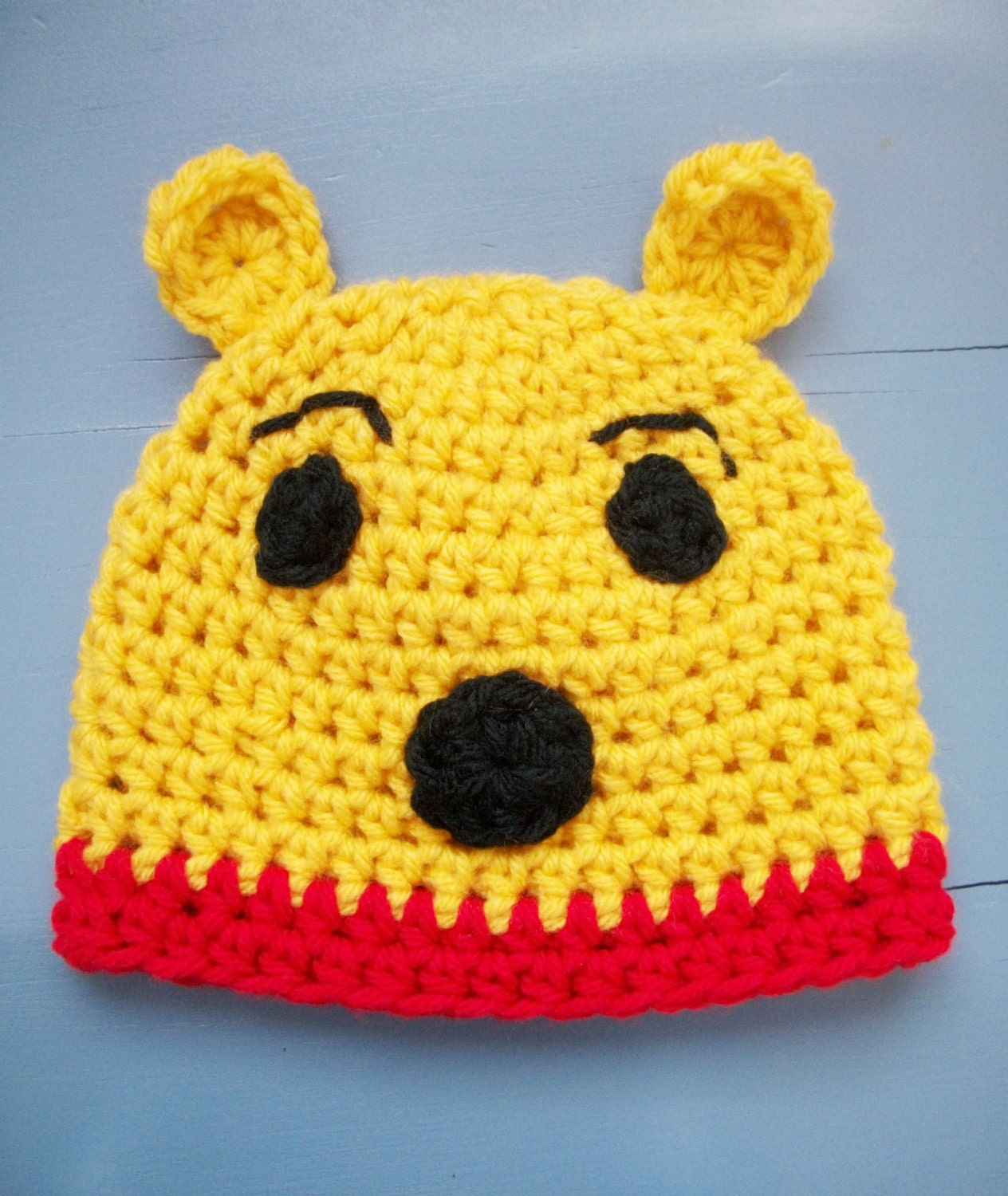 Crochet Pooh Bear Hat Pattern : Items similar to Winnie the Pooh Hat, Yellow Crochet Bear ...