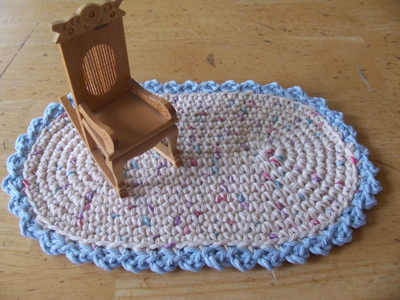 Star Wars Crochet Doll Pattern : Items similar to Miniature crochet oval rug in pastel ...