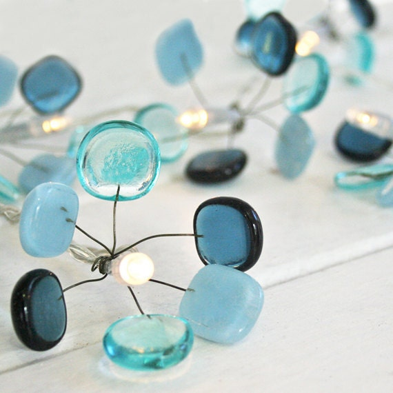 Glass Fairy lights - blue glass, medium
