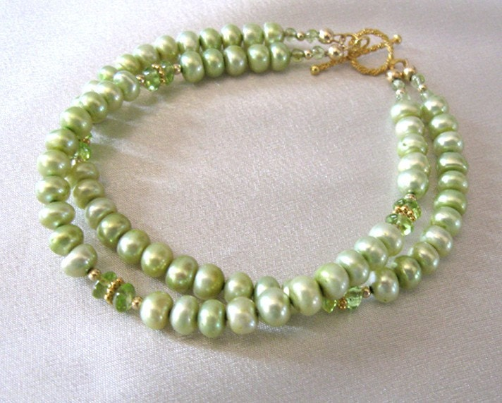 Peridot Gemstone Freshwater Pearl Bracelet Double Strand Goldfilled