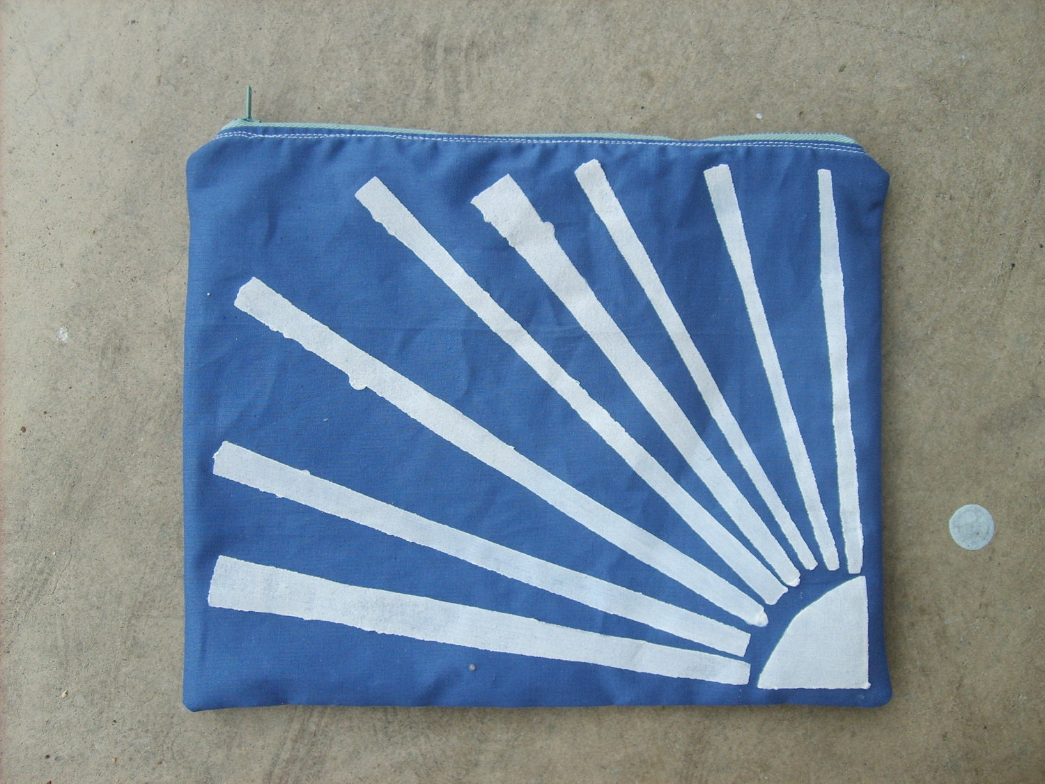 White Sunburst on Blue -- Handmade Zipper Pouch