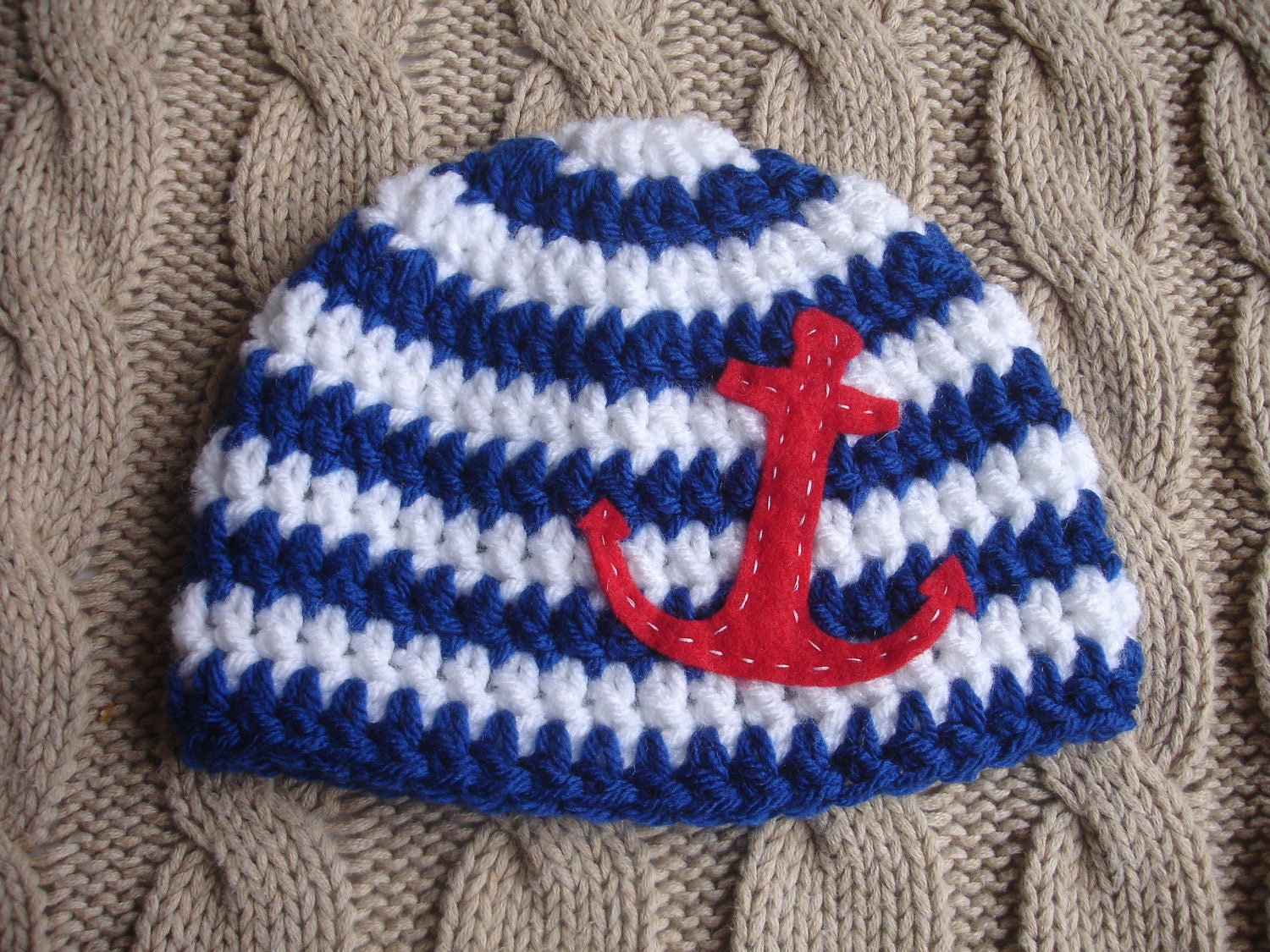 On SALE Cute Newborn Nautical Sailor Beanie Hat, ready to ship
