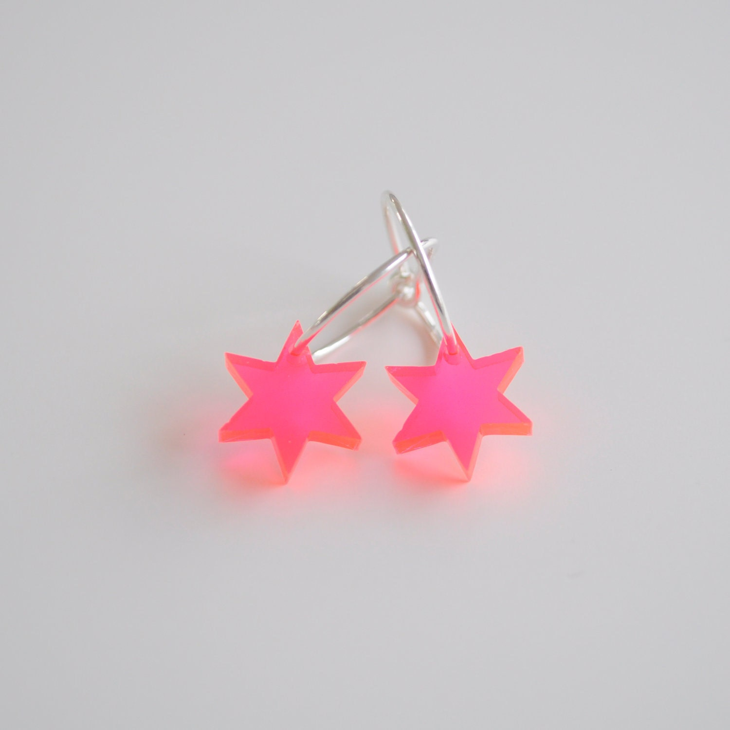 Little red acrylic star, sterling silver earrings