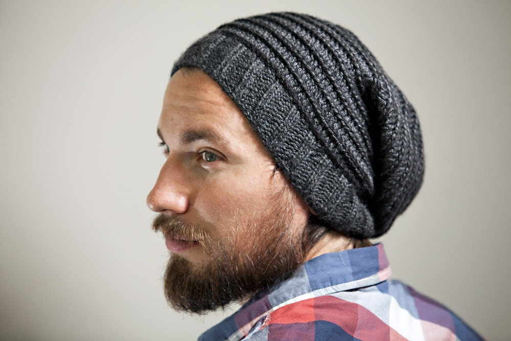 Men's Knit Slouchy Hat in Charcoal with Spiral Pattern in Contrasting ...