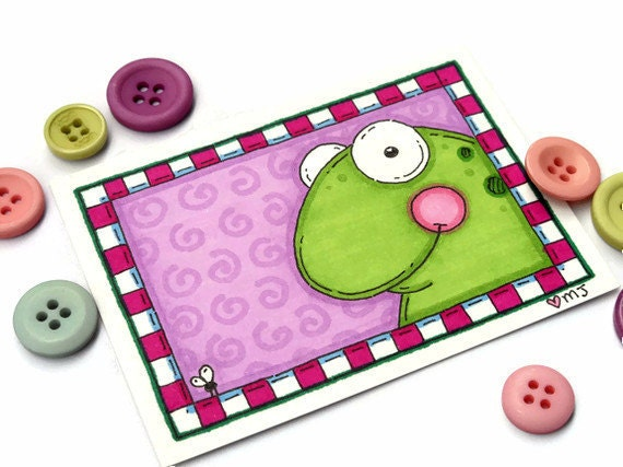 Mini Original Art Card Framed Froggy ACEO