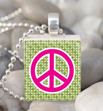 Peace Sign Scrabble Tile Pendant With Ball Chain 1446