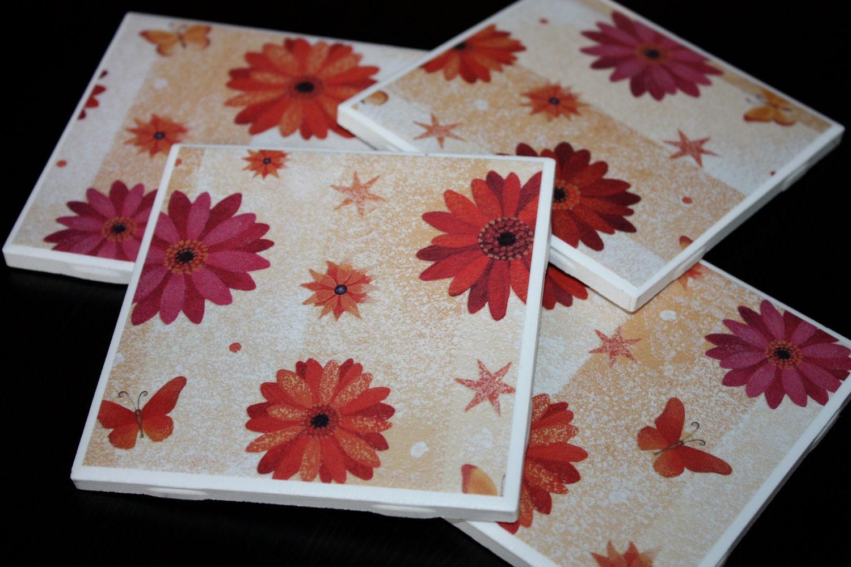 Coaster Set - Flowers