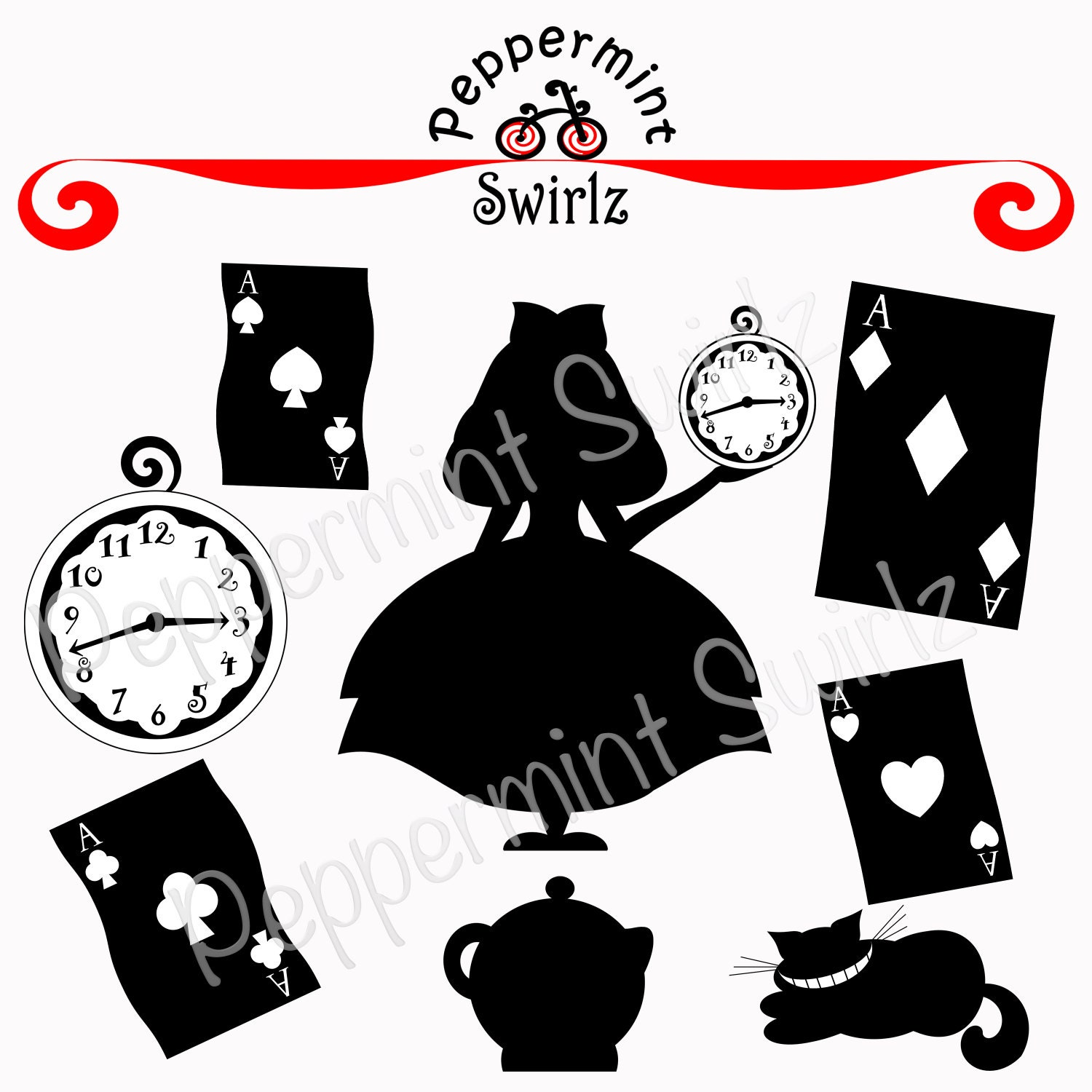 alice in wonderland clock clipart - photo #16