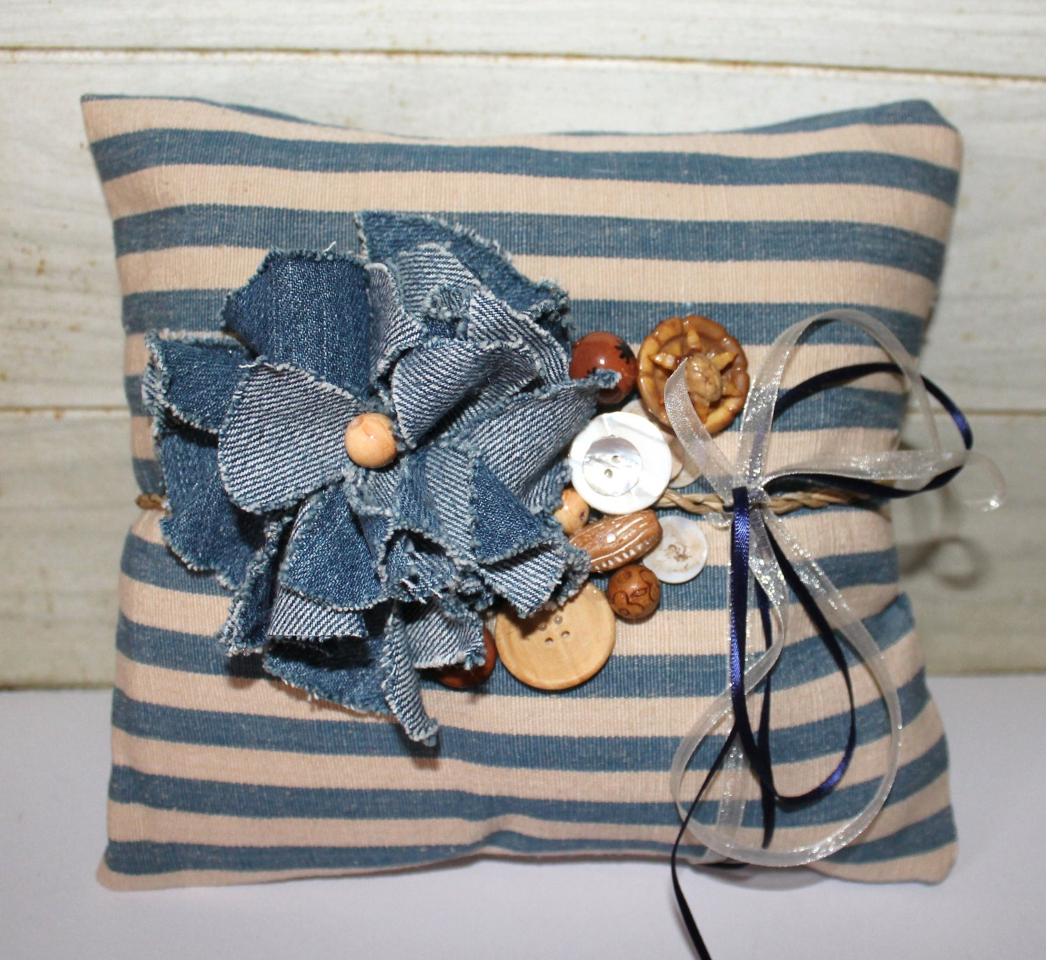 Wedding Ring Pillow - Rustic Chic - Denim - Beach Cottage - Blue - Repurposed - Vintage - Stripes