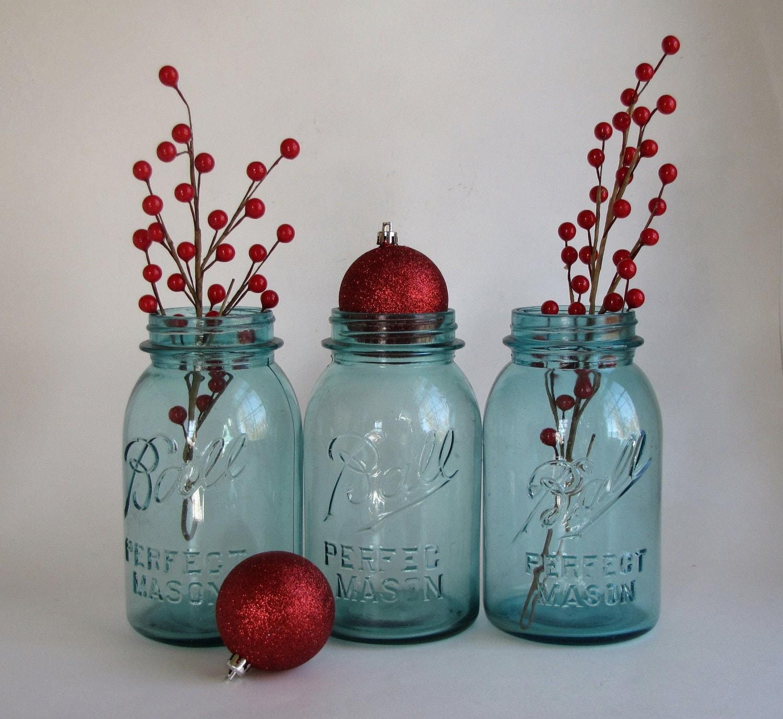 Vintage quart aqua ball canning jars set by heartlandvintageshop