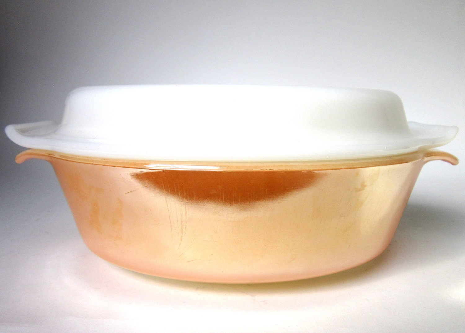 Vintage 1950s Fire King Peach Lustre Covered Casserole Dish, Anchor Hocking Retro Serving Dish - CedarRunVintage