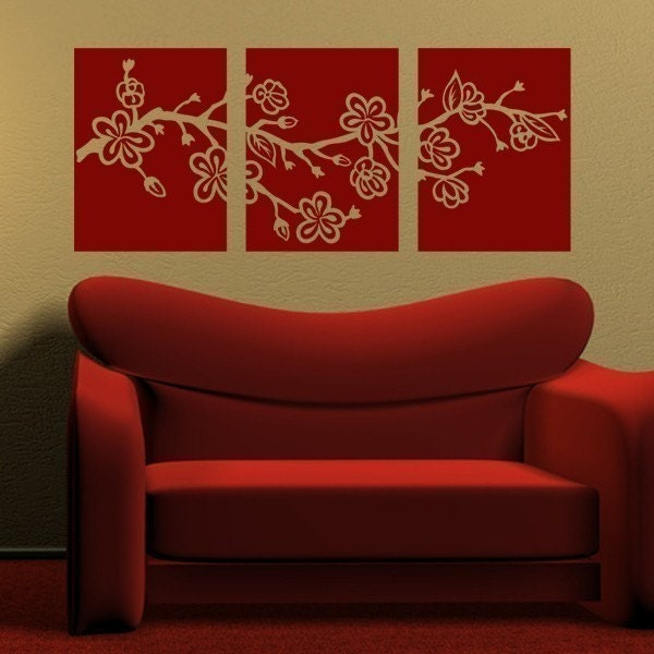 Cherry Blossom Branch Tiles, vinyl wall decals