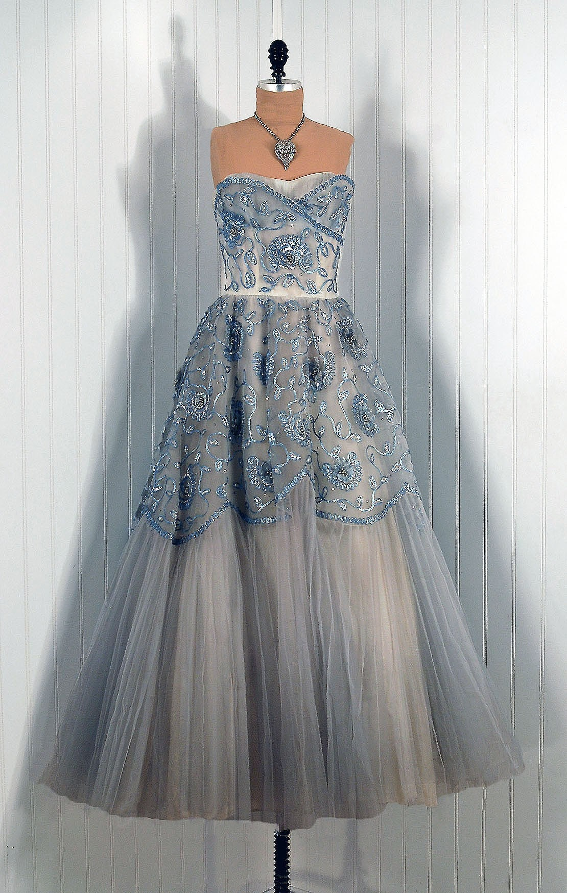 1950's Vintage Ceil Chapman Couture Strapless Steel-Blue Beaded Sequin and Rhinestone Tulle Circle-Skirt Princess Wedding Party Gown Dress