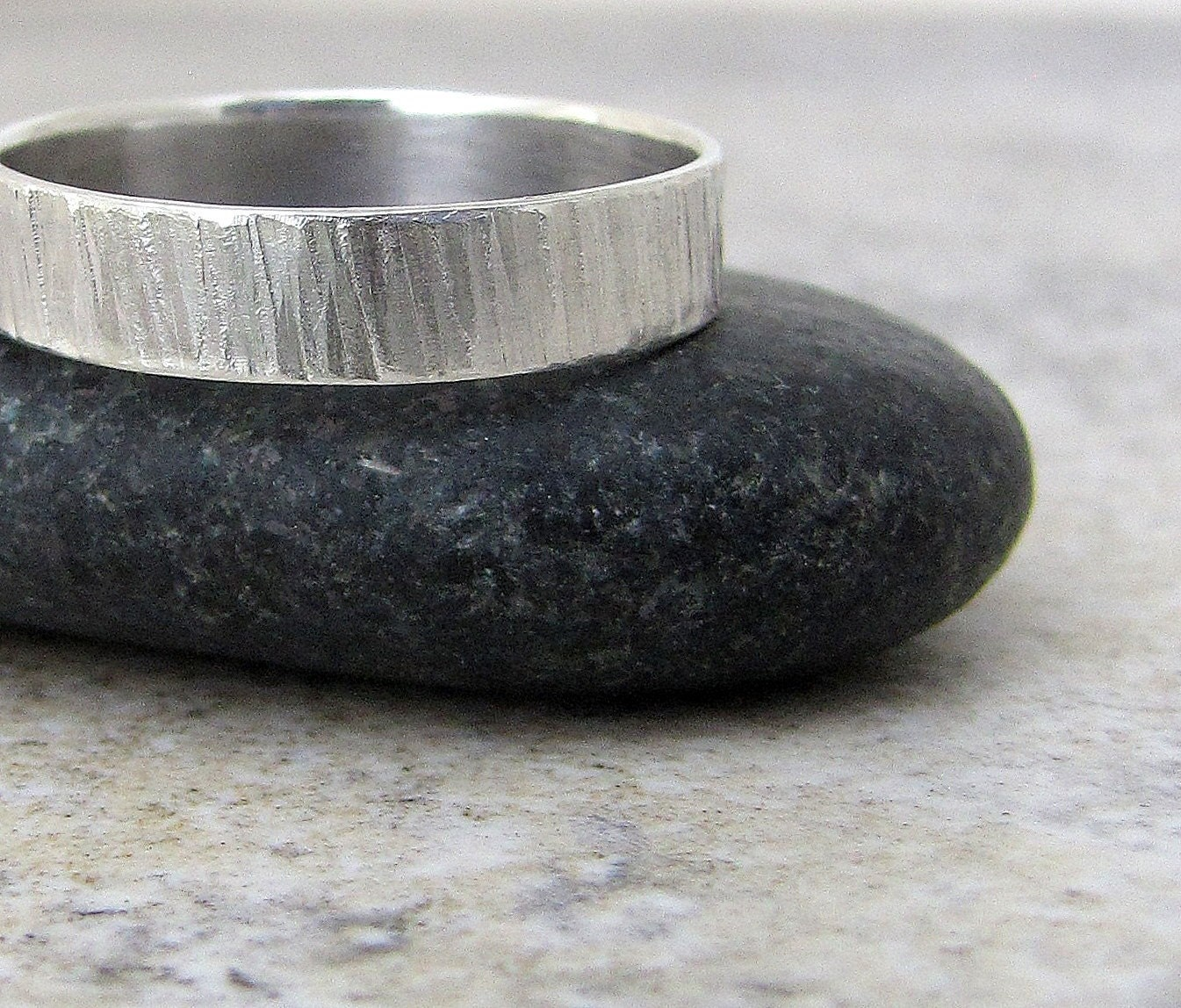 Hammered WideTree Bark Sterling Silver Ring by SilverSmack on Etsy from etsy.com