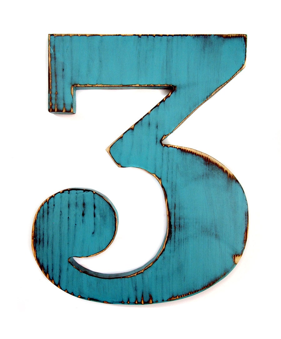 Wooden number 3 teal pine wood sign wall decor kids by for Number 4 decorations