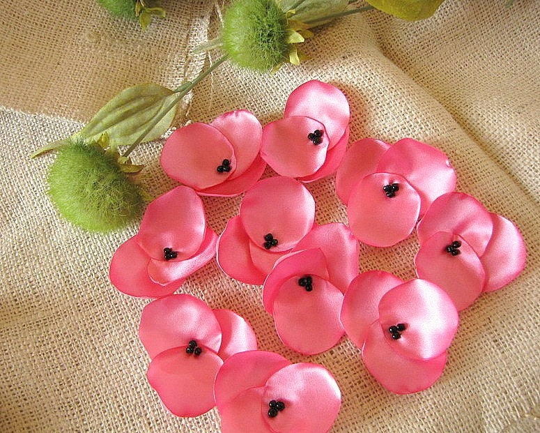 NEW Гортензия Blossoms-атласа ручной работы пришить цветок аппликации (10 шт) - жевательная резинка PINK