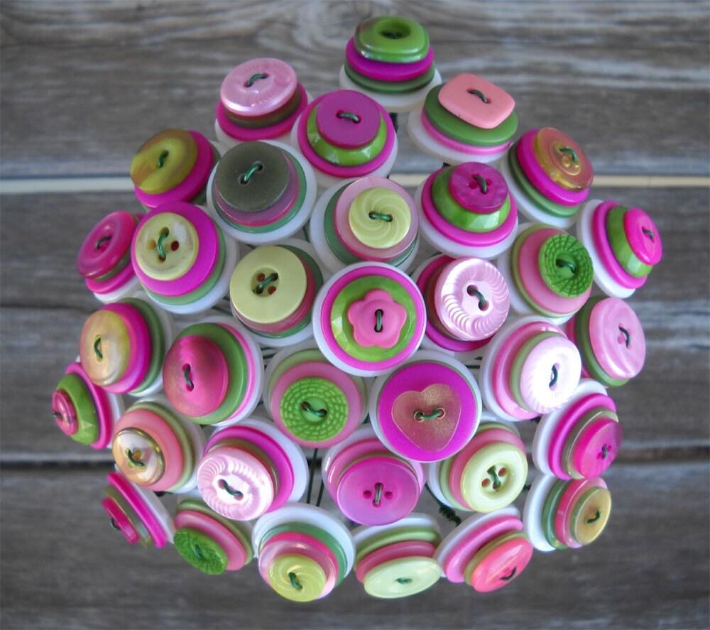 Pink Green Button Bouquet Bride Toss Flower Girl Centerpiece